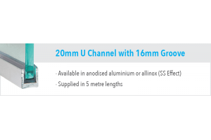 20mm U Channel with 16mm Groove
