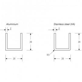 20mm X 20mm U Channel - Anodised Aluminium - 16mm Groove