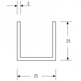 25mm X 25mm U Channel - Anodised Aluminium - 21mm Groove