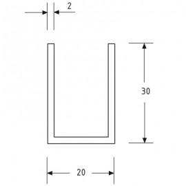 20mm X 30mm U Channel - Anodised Aluminium - 16mm Groove