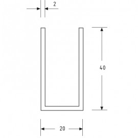 20mm X 40mm U Channel - Anodised Aluminium - 16mm Groove