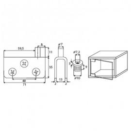 Non Drill Pivot Hinge 52 x 26mm 8mm Glass