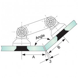 Glass to Glass Partition Bracket (82mm Bar)