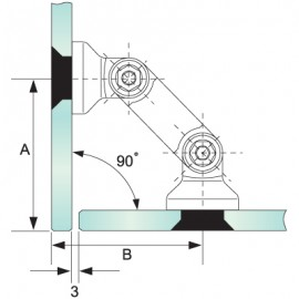 Countersunk Glass To Glass Partition Bracket (82mm Bar)