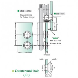 Satin Stainless Steel Roller Hanger- Countersunk Type