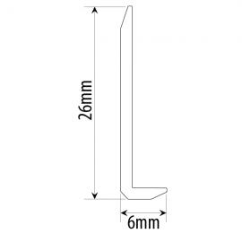 Polished Aluminium Right Angle L Bar 25x6mm 3.66 Metres