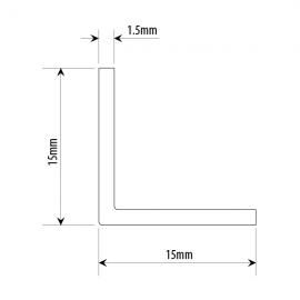 15mm X 15mm Right Angle Profile - Anodised Aluminium
