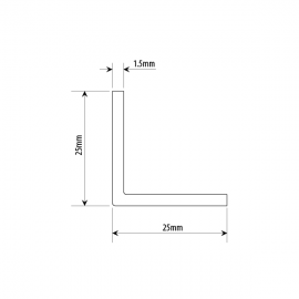 25mm X 25mm Right Angle Profile - Alinox (SS Effect)