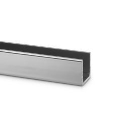 15mm Polished Silver U Channel For 10mm Thick - 3.66 mtrs
