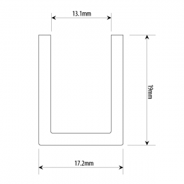 17 mm Black U Channel For Up To 12mm Glass