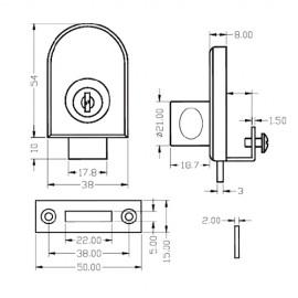 Non Drill Glass Door Lock Gold