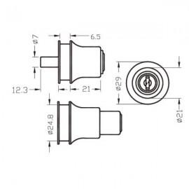 Push Type Cylinder Lock For Sliding Doors Chrome