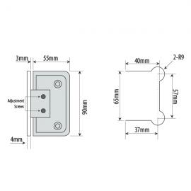 Adjustable Wall To Glass Shower Hinge - Satin Chrome