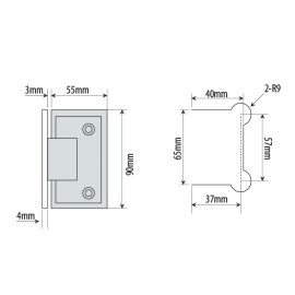 Shannon SQ Range - Wall To Glass Shower Hinge - PC