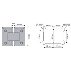 Shannon Range - 135 Degree Glass To Glass Shower Hinge - PC