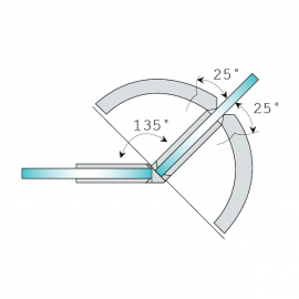 Shannon SQ Range - 135 Degree Glass To Glass Hinge - SC