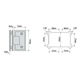 Shannon SQ Range - 90 Degree Glass To Glass Hinge - SC
