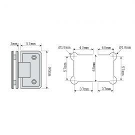 Shannon Range - 90 Degree Glass To Glass Shower Hinge - PC