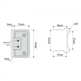 Adjustable Single Wing Wall  To Glass Shower Hinge - SC