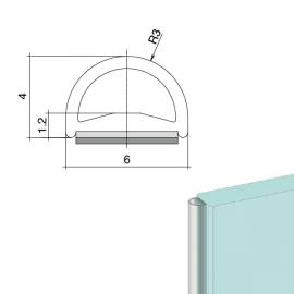 Glass Bumper - Self Adhesive Door Seal - 12 Metres