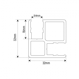 90 Degree Panel Floor To Ceiling Post 8mm Glass - Black