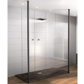 Fixed Panel Floor To Ceiling Post 10mm Glass - 2.8mtr-Black
