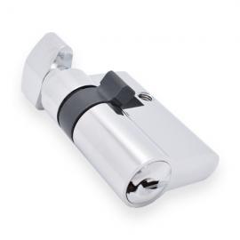 Half Europrofile Cylinder With Thumb Turn - Polished Chrome