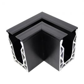 Crystal View Base Fix 90 Degree Corner Brushed Black