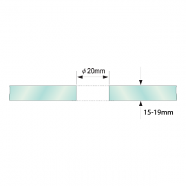 Single Point Partition Fitting For 15 - 19mm Glass