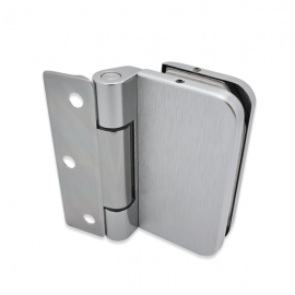 Wall To Glass Hinge - 8-10mm Glass - Stainless Steel Effect