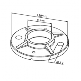 120mm Floor Flange With Levelling Screws for Tube 48.3mm