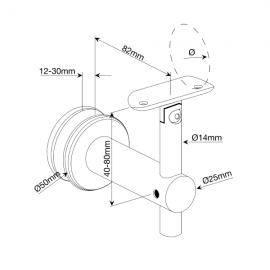 Adjustable Glass To Handrail Bracket - 316SS - 48mm Handrail