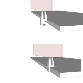 Bottom Fix Desk Partition Clamp, 4-12mm Thick Panel - Silver