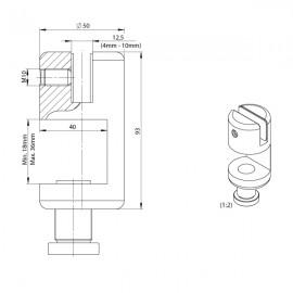 VistaScreen Desk Clamp- 4-10mm Material - RAL9005 Black