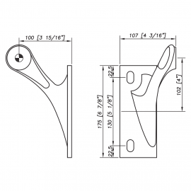 S3100 Spider Bracket Series - 1 Arm - Right - AISI316