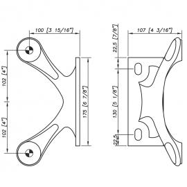 S3100 Spider Bracket Series - 2 Arm - AISI316