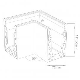 Crystal View Base Fix 90 Degree Corner