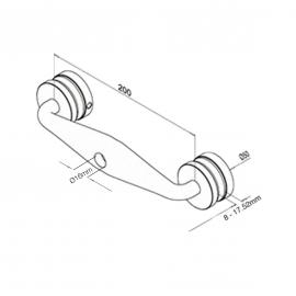 Glass Balustrade Spider Bracket - Double Arm - 8-17.52mm