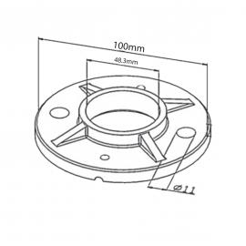 100mm Floor Flange for Tube 48.3mm x 2.6mm