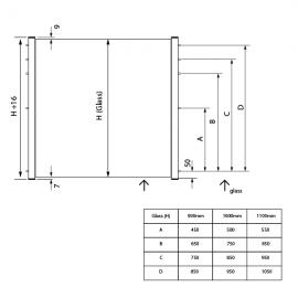 SkyForce-side Balcony Kit 1100mm High 10-11mm Glass - Mill