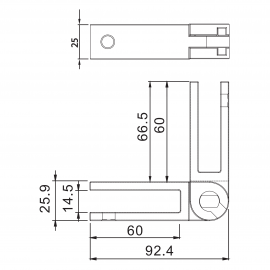 Adjustable SS Glass To Glass Panel Support 10-12mm Glass