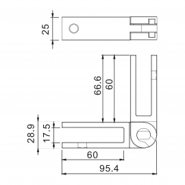 Adjustable SS Glass To Glass Panel Support 13.52-15mm Glass