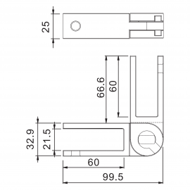 Adjustable SS Glass To Glass Panel Support 16.76-19mm Glass