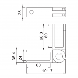 Adjustable SS Glass To Glass Panel Support 20-21.52mm Glass