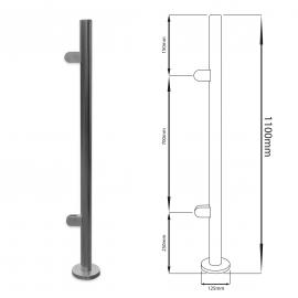 End Balustrade Post - 1100mm - Flat Cap