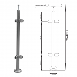 90 Degree Balustrade Post - 1100mm - Hand Rail