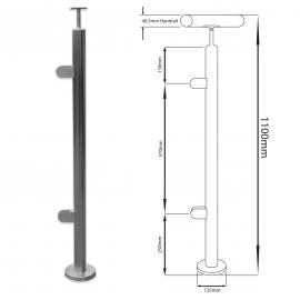 End Balustrade Post - 1100mm - Hand Rail