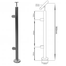 End Balustrade Post - 900mm - Sloped Hand Rail