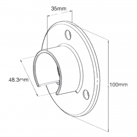Slotted Handrail to Wall Bracket for Tube 48.3mm x 1.5mm