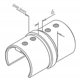 Slotted Handrail Joiner for Tube 48.3mm x 1.5mm